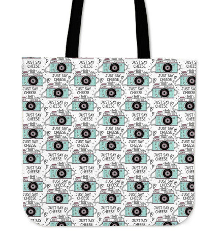 Custom Photographer Designs on Premium Totes Tote Bag Say Cheese