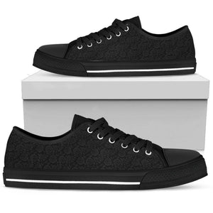 Epic Canvas Shoes with Beautiful Flower Art Womens Low Top - Black - Grey on Black US5.5 (EU36)