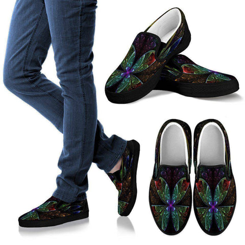 Image of Butterfly Fractal Slip Ons Men's Slip Ons - Black - M US8 (EU40)