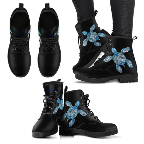 Image of Cool Blue Tribal Turtle V.2 Women's Leather Boots - Black - Women US5 (EU35)