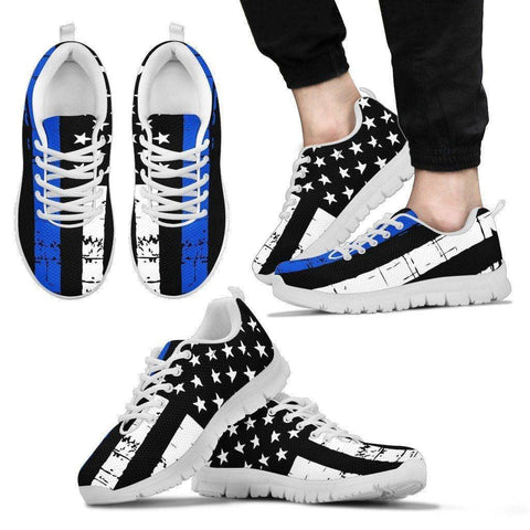Image of Premium Thin Blue Line Sneakers Shoes Men's Sneakers - White - White Sole US5 (EU38)
