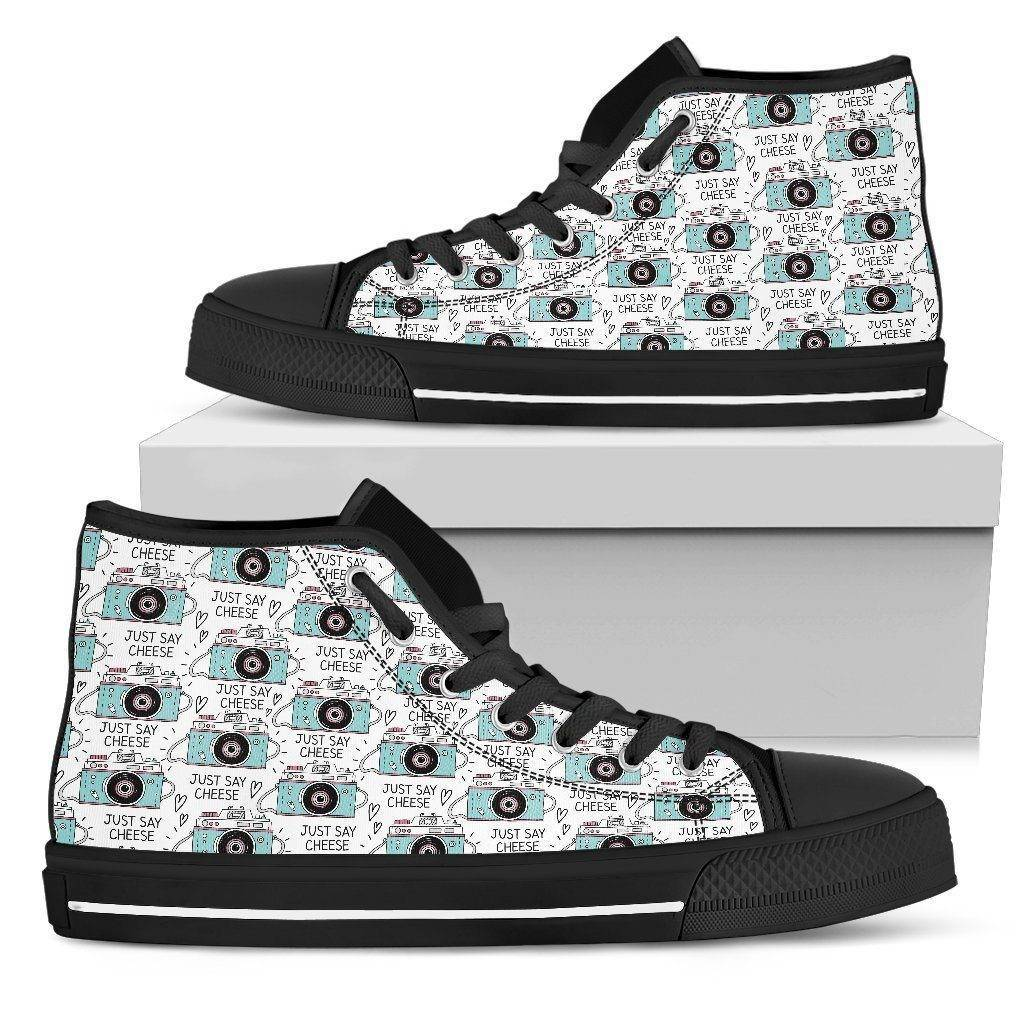 Premium Canvas Shoes, Say Cheese Womens Womens High Top - Black - Say Cheese US5.5 (EU36)