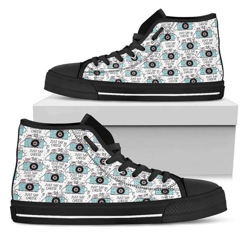Image of Premium Canvas Shoes, Say Cheese Womens Womens High Top - Black - Say Cheese US5.5 (EU36)
