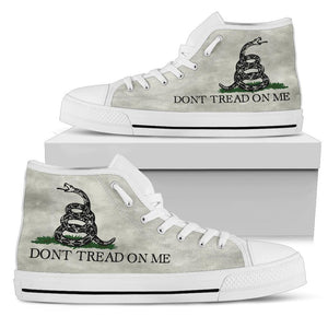 Dont Tread On Me Canvas Shoes V.2 Shoes Womens High Top - White - White Sole US5.5 (EU36)