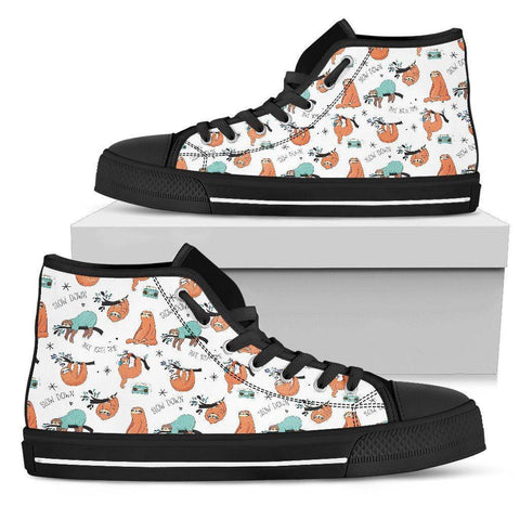 Image of Great Sloths on Awesome High Top Shoes, Womens Shoes Womens High Top - Black - Small Sloth B US5.5 (EU36)