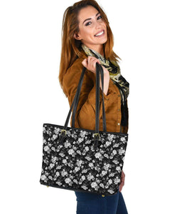 White Roses and Butterflies, Vegan Leather Tote Bags