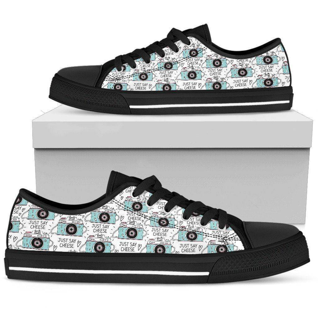 Premium Canvas Shoes, Say Cheese Womens Womens Low Top - Black - Say Cheese US5.5 (EU36)