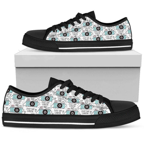 Image of Premium Canvas Shoes, Say Cheese Womens Womens Low Top - Black - Say Cheese US5.5 (EU36)