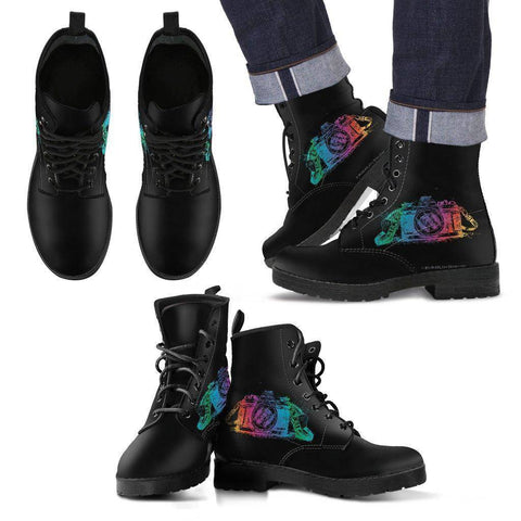 Image of Premium Mens Photographer Eco-Leather Boots Men's Leather Boots - Black - Colorful US5 (EU38)
