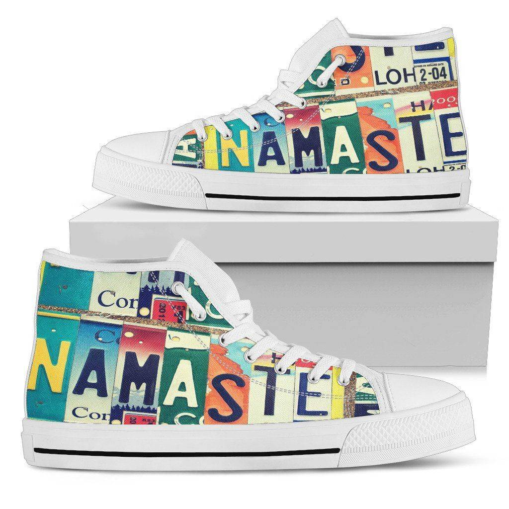 Groovy Namaste License Art | Premium High Top Shoes Shoes Mens High Top - White - Mens White US5 (EU38)