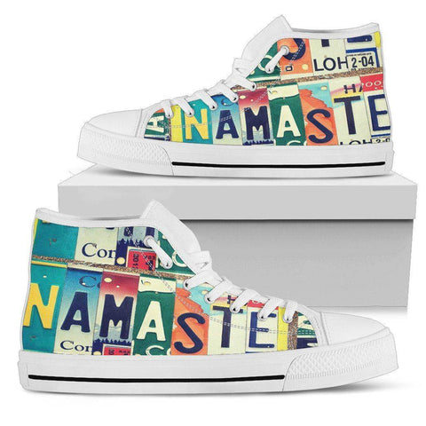 Image of Groovy Namaste License Art | Premium High Top Shoes Shoes Mens High Top - White - Mens White US5 (EU38)