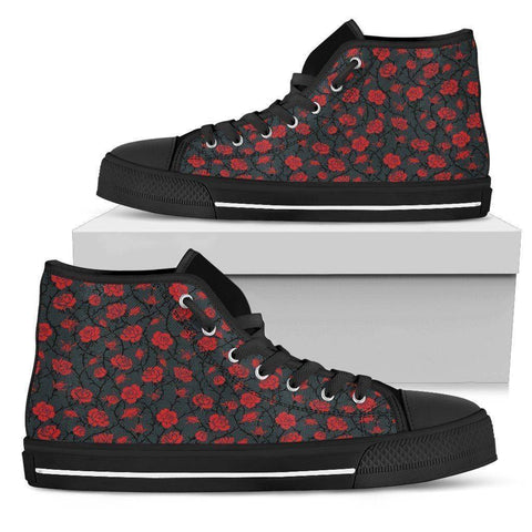 Image of Epic Canvas Shoes with Beautiful Flower Art Womens High Top - Black - Red on Grey US5.5 (EU36)