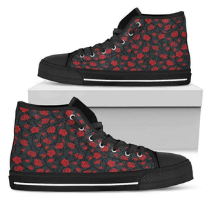 Epic Canvas Shoes with Beautiful Flower Art Womens High Top - Black - Red on Grey US5.5 (EU36)