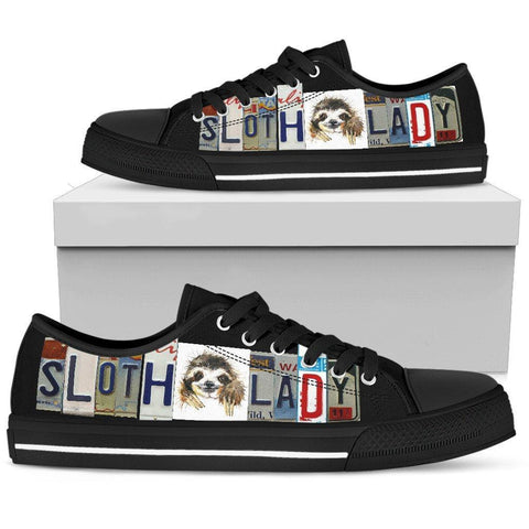 Image of Sloth Lady License Plate Art Shoes | Black Low Top Shoes