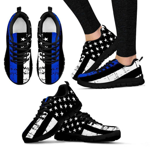 Premium Thin Blue Line Sneakers Shoes Women's Sneakers - Black - Black Sole US5 (EU35)