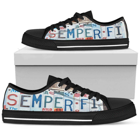 Semper Fidelis | Premium Low Top Shoes Womens Low Top - Black - Womens Black US5.5 (EU36)