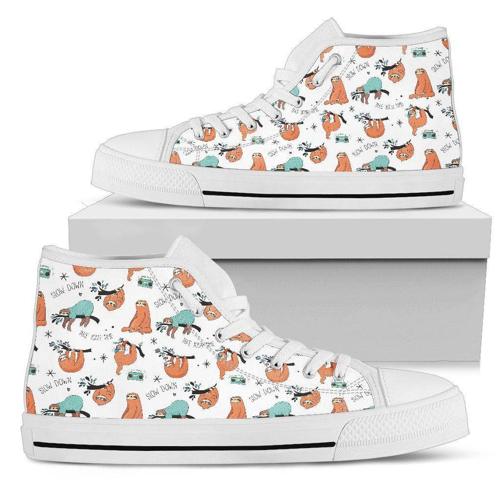 Great Sloths on Awesome High Top Shoes, Womens Shoes Womens High Top - White - Small Sloth W US5.5 (EU36)