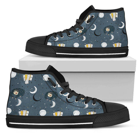 Image of Premium Sleeping Sloth Shoes | High and Low Top Available Shoes Womens High Top - Black - WBH US5.5 (EU36)