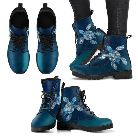 Cool Blue Tribal Turtle V.3 Ocean Swim Women's Leather Boots - Black - Women US5 (EU35)