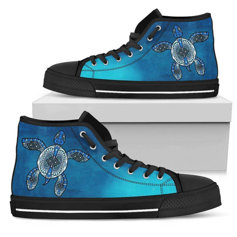 Tribal Turtle Swimming High Tops Womens High Top - Black - Black US5.5 (EU36)