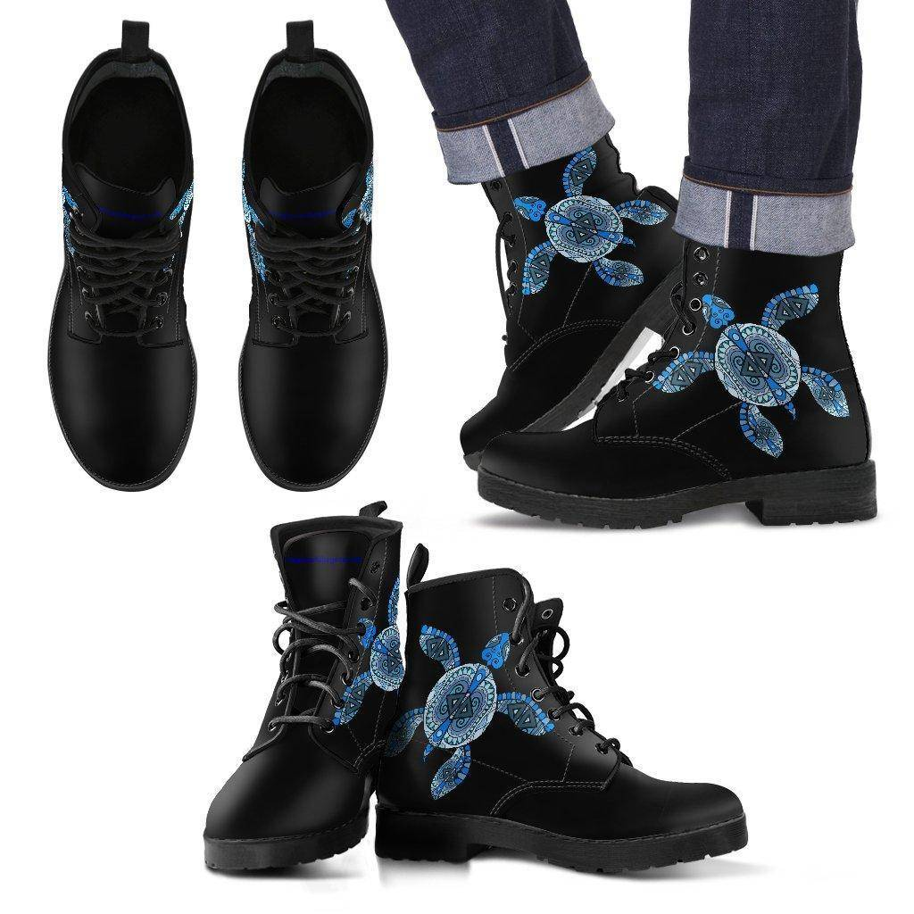 Cool Blue Turtle on Premium Eco Leather Boots Men's Leather Boots - Black - Men US5 (EU38)