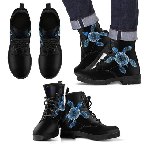 Image of Cool Blue Turtle on Premium Eco Leather Boots Men's Leather Boots - Black - Men US5 (EU38)
