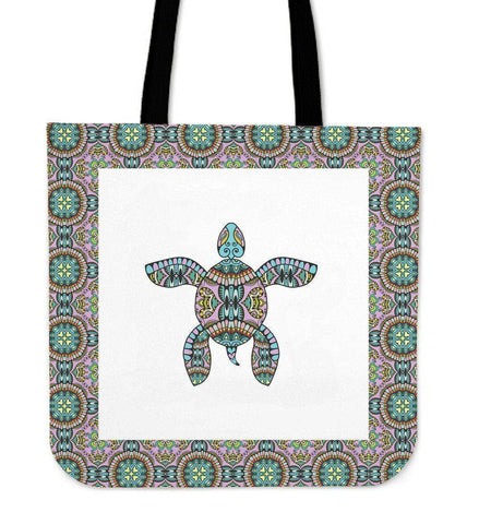 Image of Cool Handrawn Tribal Turtle Art on Premium Tote Cool Tribal Turtle V.1