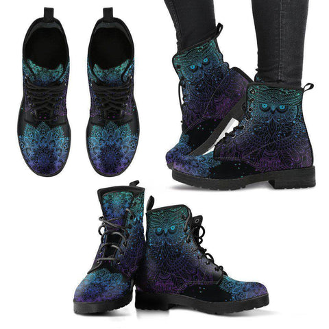 Owl Blue Purple Handcrafted Boots Boots