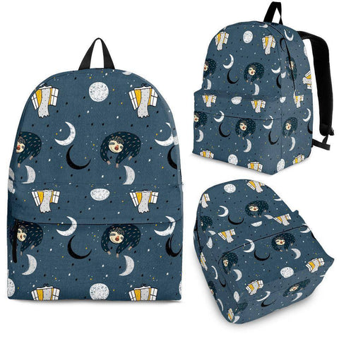 Image of Sleeping Space Sloth Backpack backpack Backpack - Black - Small Pattern Adult (Ages 13+)