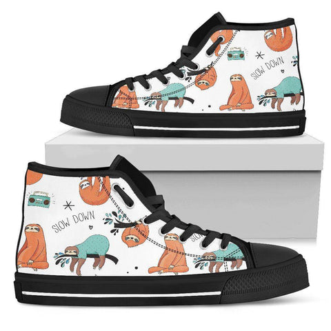 Image of Great Sloths on Awesome High Top Shoes, Womens Shoes Womens High Top - Black - Large Sloth US5.5 (EU36)