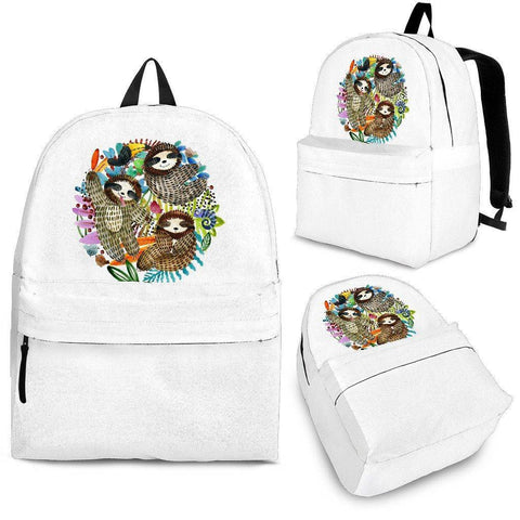 Image of Sloth Backpacks Custom Art Backpack - Black - Sloth Watercolour Adult (Ages 13+)