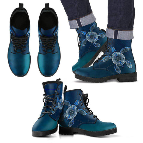 Image of Cool Blue Tribal Turtle V.2, Ocean Swim Men's Leather Boots - Black - Men US5 (EU38)
