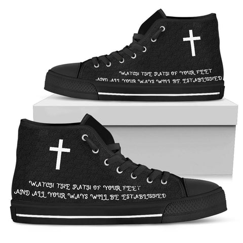 Image of Proverbs 4:26 Premium Canvas High Tops Womens High Top - Black - Proverbs 4:26 With Cross US5.5 (EU36)