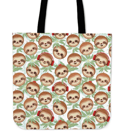 Image of Super Cool Fun Sloth Tote Bags | 3 Patterns Tote Bag Happy Headphone Sloth