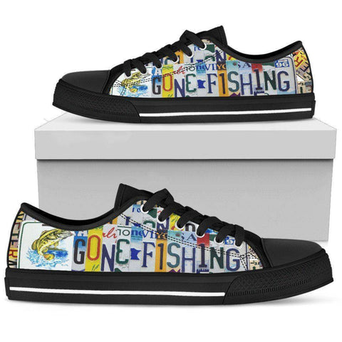 Image of Gone Fishin' | Premium Low Top Canvas Shoes Shoes Mens Low Top - Black - Black US5 (EU38)