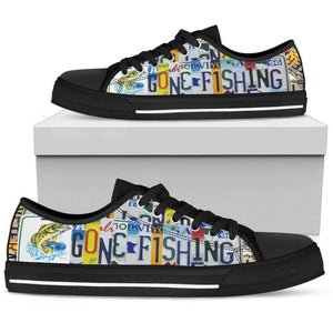 Gone Fishin' | Premium Low Top Canvas Shoes Shoes Mens Low Top - Black - Black US5 (EU38)