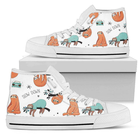 Men's Sloth Shoes Mens High Top - White - Large Sloth US5 (EU38)