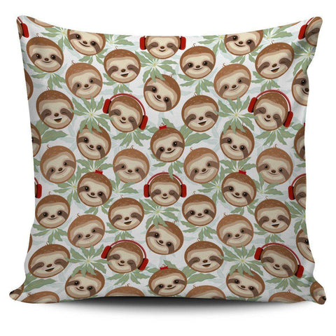Headphone Sloth Pillow Case