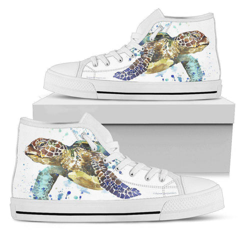 Image of Groovy Watercolor Turtle on Premium High Tops V.1 Mens High Top - White - V.1 US5 (EU38)