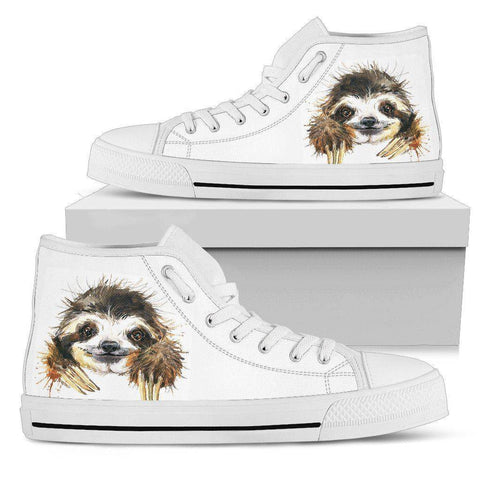 Image of Smiling Sloth on Custom Premium Canvas Hightops Womens High Top - White - Smiley US5.5 (EU36)