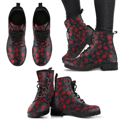 Premium Eco Leather Boots with Rose Art Women's Leather Boots - Black - Red on Grey US5 (EU35)