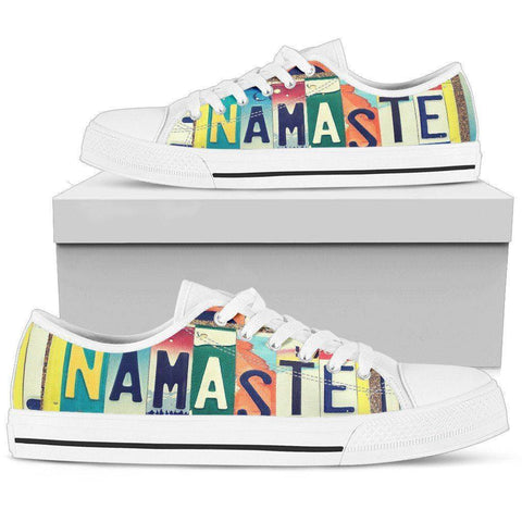 Image of Groovy Namaste License Plate Art | Premium Low Top Shoes Shoes Womens Low Top - White - Womens White US5.5 (EU36)