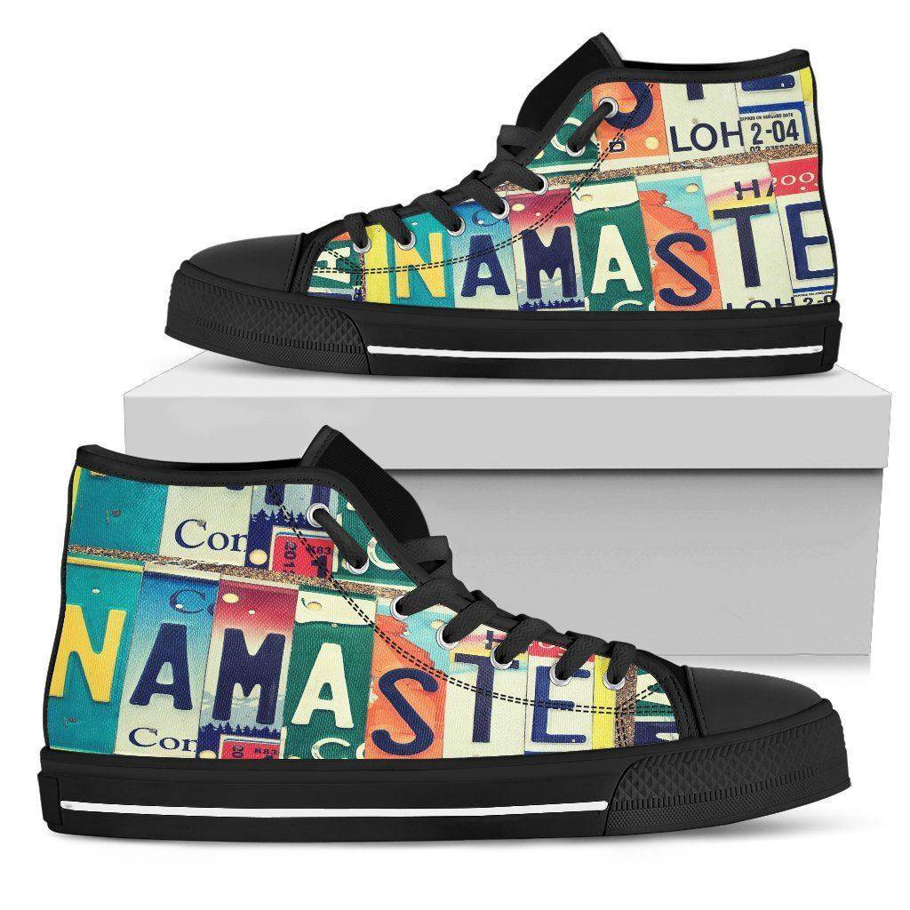 Groovy Namaste License Art | Premium High Top Shoes Shoes Mens High Top - Black - Mens Black US5 (EU38)