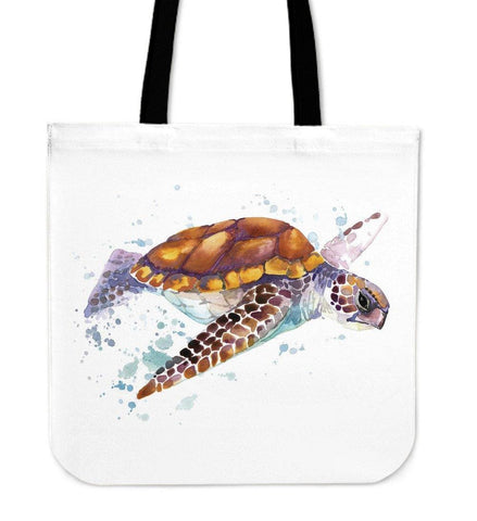 Image of Premium Watercolor Turtles on Re-Useable Canvas Tote Tote Bag V.3