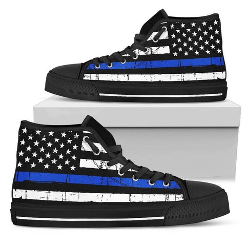 Premium Canvas Highttop with Thin Blue Line Flag Mens High Top - Black - Black Sole US5 (EU38)