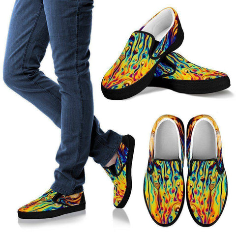 Image of Oil Slick Slip Ons Shoes Men's Slip Ons - Black - M US8 (EU40)