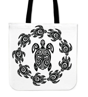 Peaceful Circle of Life Tribal Turtle Totes Tote Bag White