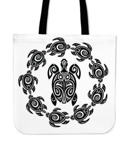 Image of Peaceful Circle of Life Tribal Turtle Totes Tote Bag White