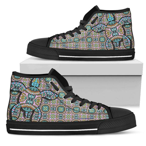Image of Cool Pink Tribal Turtle High Tops Womens High Top - Black - Small Pink US5.5 (EU36)