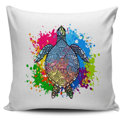 Image of Color Splash Turtle Pillow Covers Pillow Case White